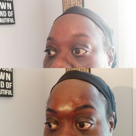 dark complexion woman showing her before and after eyebrow image